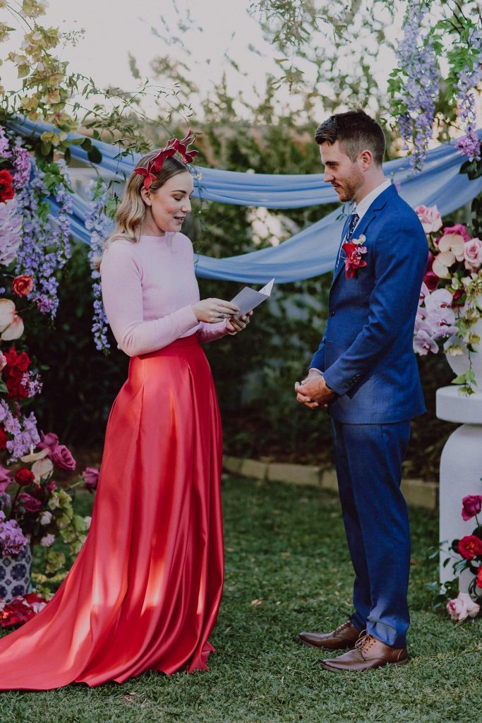 Modern and colourful backyard wedding
